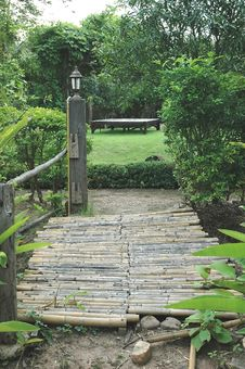Free Bamboo Bridge Cool Garden Stock Image - 10079231