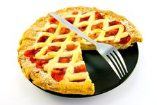 Free Apple And Strawberry Pie With A Slice Missing Royalty Free Stock Photo - 10079385