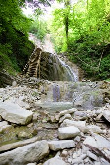 Free Waterfall And Stairway Royalty Free Stock Photos - 10079858