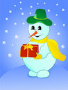 Free Snowman With Gift On Winter Background Royalty Free Stock Image - 10082396