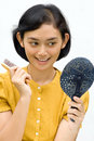 Free Woman With Mirror And Hairbrush Royalty Free Stock Image - 10086476