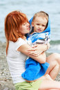 Free Mother And Son On Beach Stock Photos - 10088953