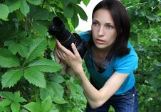 Photographer Is In An Ambush. Royalty Free Stock Images