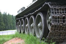 Free Heavy Tank Track Close-up Of Wheels Stock Photo - 10081320