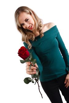 Free Blonde Girl Smelling Rose Stock Photography - 10081792