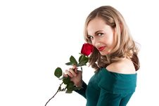 Free Blonde Girl Smelling Rose Stock Images - 10081814