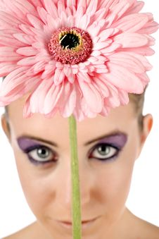 Free Closeup Of Flower Above Womans Head Royalty Free Stock Photos - 10082248