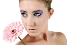 Free Woman With Strong Makeup Holding A Flower Stock Photos - 10082263