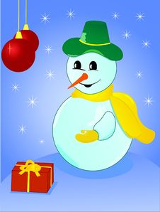 Free Christmas Snowman With Gift And Snowflake Royalty Free Stock Photos - 10082388