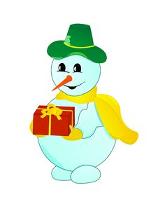 Free Christmas Snowman With Gift Stock Image - 10082391
