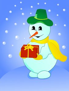 Snowman With Gift On Winter Background Royalty Free Stock Image