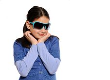 Free Cute Girl In Blue Outfit And Blue Sunglasses Royalty Free Stock Photo - 10083325