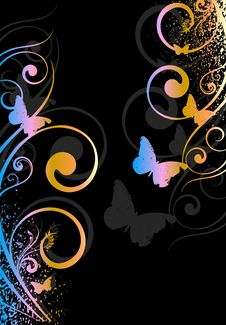 Vector Card With Butterfly Royalty Free Stock Image