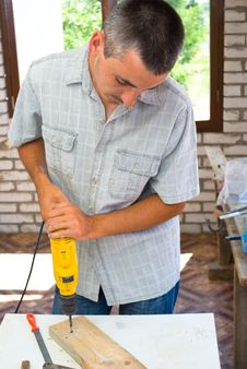 Free Professional Man With Drill Stock Photography - 10084072
