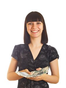 Free Woman Holding Money Royalty Free Stock Photography - 10084777