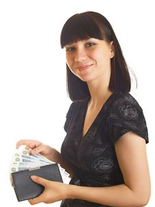 Free Woman Holding Money Royalty Free Stock Photography - 10084797