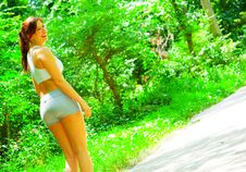 Free Woman Runner In The Woods Royalty Free Stock Images - 10085759