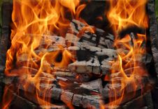 Brazier With Burning Fire Woods Stock Photography