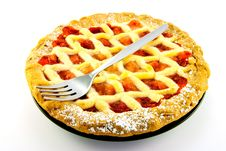 Free Whole Apple And Strawberry Pie With A Fork Stock Image - 10087481