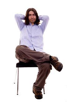Free Man On A Desk Royalty Free Stock Photo - 10088085