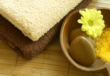 Spa Composition. Towels And Stones Stock Images