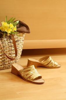 Free Female Summer Footwear, Bag And Flowers Royalty Free Stock Image - 10088526