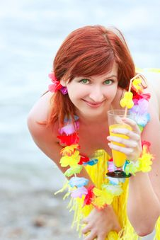 Free Attractive Girl With Glass Of Juice Stock Photos - 10089143