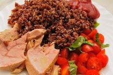 Free Tuna Wild Rice Tomatoes And Basil Stock Images - 10089944