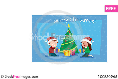 Free Children Background With Christmas Tree Royalty Free Stock Photo - 100850965