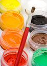 Free Group Of Colorful Paint Cans With Brush Stock Photos - 10096553