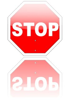 Free Stop Sign With Reflection (eps V8 Included) Royalty Free Stock Photography - 10092887