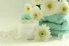 Free Bowl Of Cream, Towel And Flowers Royalty Free Stock Photo - 10093125