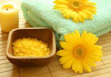 Free Bath Salt, Towel, Candle And Gerber. Royalty Free Stock Image - 10093436