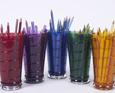Free Five Drinking Glasses Holding Coloring Pencils Royalty Free Stock Photography - 10093537