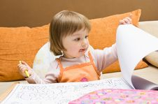 Free Baby Girl Drawing Stock Photography - 10093632