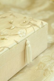 Beautiful Gift Box Sheathed By Silk With An Embro Royalty Free Stock Images