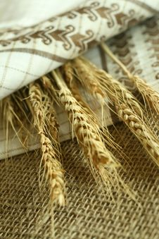 Free Wheat Ears And Towel  On Sacking Stock Photos - 10094093
