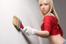 Girl With Paint Brush Stock Photography