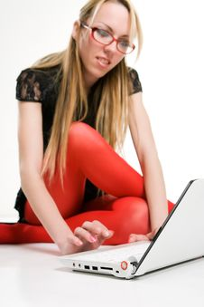 Free Pretty Woman Working With Laptop On The Floor Stock Images - 10094304