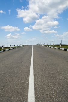 Empty Highway With Blue Sky Royalty Free Stock Photo