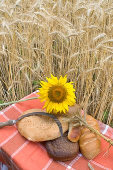 Bread And Wheat Stalks.