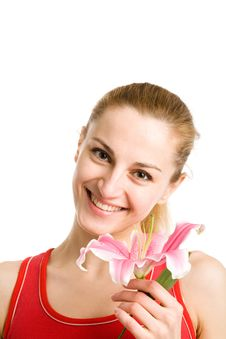 Free Nice Girl  With A Pink Lily Stock Photo - 10094900
