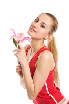 Free Nice Girl  With A Pink Lily Stock Photography - 10094912
