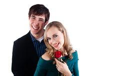 Happy Couple With A Rose Stock Photo