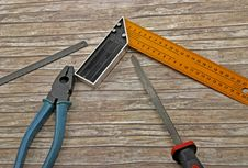 Free Technician S Tools On Old Wood Royalty Free Stock Photography - 10096337