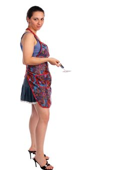 Free Young Housewife With Ladle Royalty Free Stock Photography - 10096997
