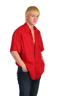 Free Young Blonde Man In Red Shirt Posing Stock Photography - 10097002