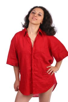 Free Girl In Red Male Shirt Posing Royalty Free Stock Photo - 10097045