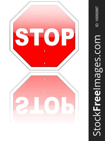 Stop sign with reflection (eps v8 included)
