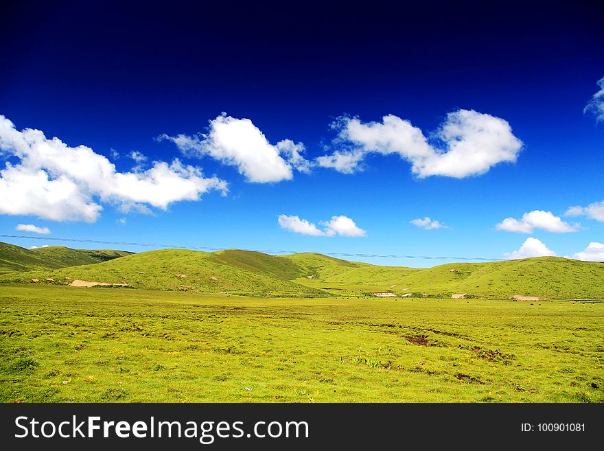 The Alpine Grassland scenery on the Qinghai Tibet Plateau